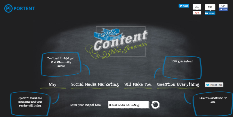 screen shot of portent content idea generator for managed by rita