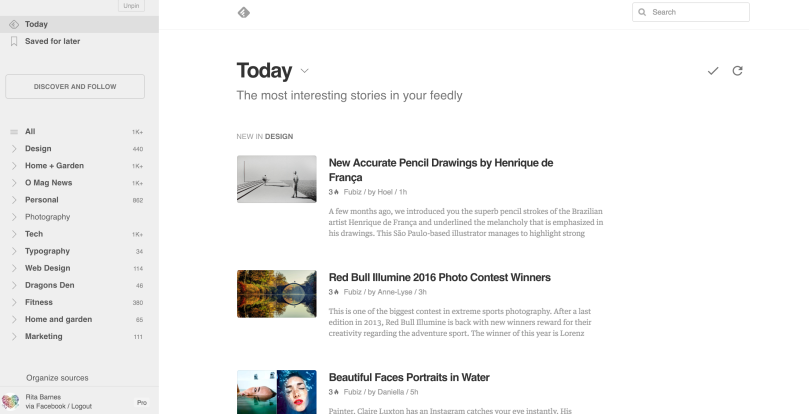screen shot of feedly news for managed by rita