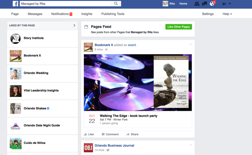 screen shot of facebook pages feed for managed by rita