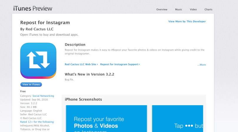 screen shot of repost app for instagram for managed by rita